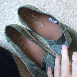 Toms Shoes - Army Green Suede TOMS Flats Shoes
